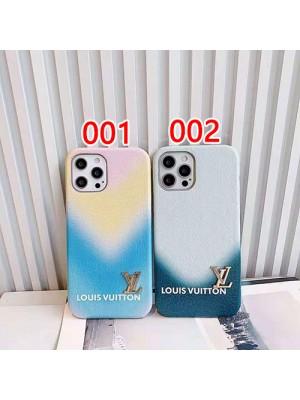 ルイヴィトン iphone12sレザーケース グラデーション iPhone13 pro maxペアケース カップル向け メンズレディース ヴィトン IPHONE12s/13 pro max携帯カバー 色が綺麗 ブルー系