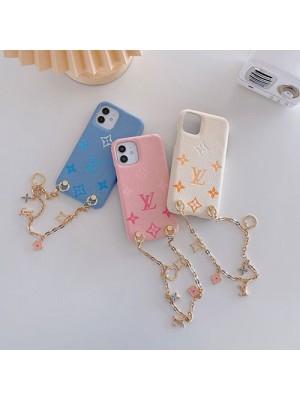 かわいい 女性向け ルイヴィトン iphone13/13pro/13mini/13pro maxケース 革製 ファッション チェーン付き iphone12mini/12proケースピンク白水色 おしゃれ